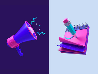 Minimal 3D illustration web minimal app illustration pen c4d megaphone notepad 3d icons icons 3d