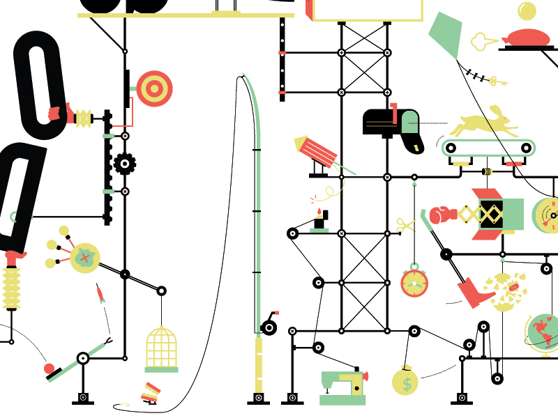 THINGS ARE GETTING OUT OF HAND illustration infograph infographic goldberg machine mouse trap contraption