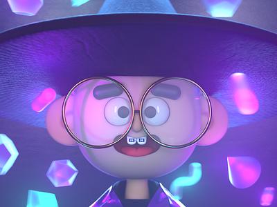 A Young Magician color magic magician bokeh 3d art cgi render design character 3d illustration