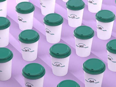 Bench Cups coffee shop coffee cup coffee design cgi render illustration 3d art 3d