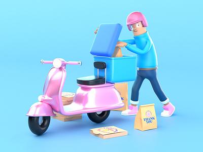 Delivery Character. rig render app delivery design cute vespa 3dillustration character 3d 3d art illustration