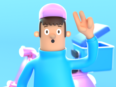 Delivery Character Expression 2. rigging hat render 3d illustration illustration character design character 3d art