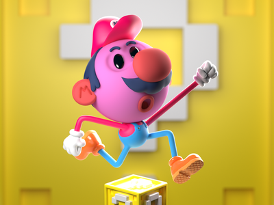 Wa-hoo! 3dmodelling nintendo mario videogames colorful cgi character design character 3d render illustration 3d art