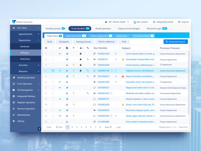 UI Kit | Office document online approval system ui kit table side bar badge button tab dropdown nav office template grid ui