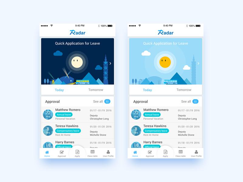 Radar Mobile | Attendance management system radar dark night day sun illustration widget tab bar leave attendance mobile app
