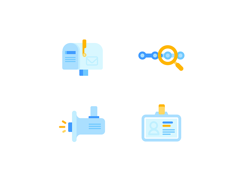 Complaint mailbox    Icons announce identity progress search blue icon color illustration mailbox complaint website government