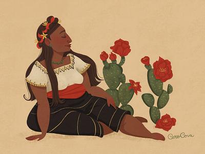 Flores mexicanas character sketch digital illustration