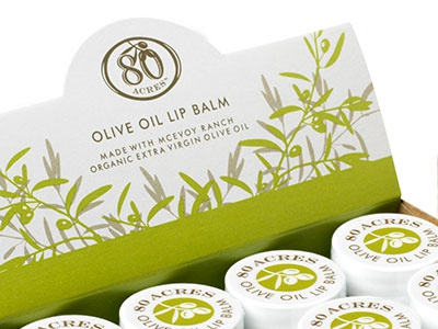 80 Acres of McEvoy Ranch Lipbalm packaging lip balm verde green olives