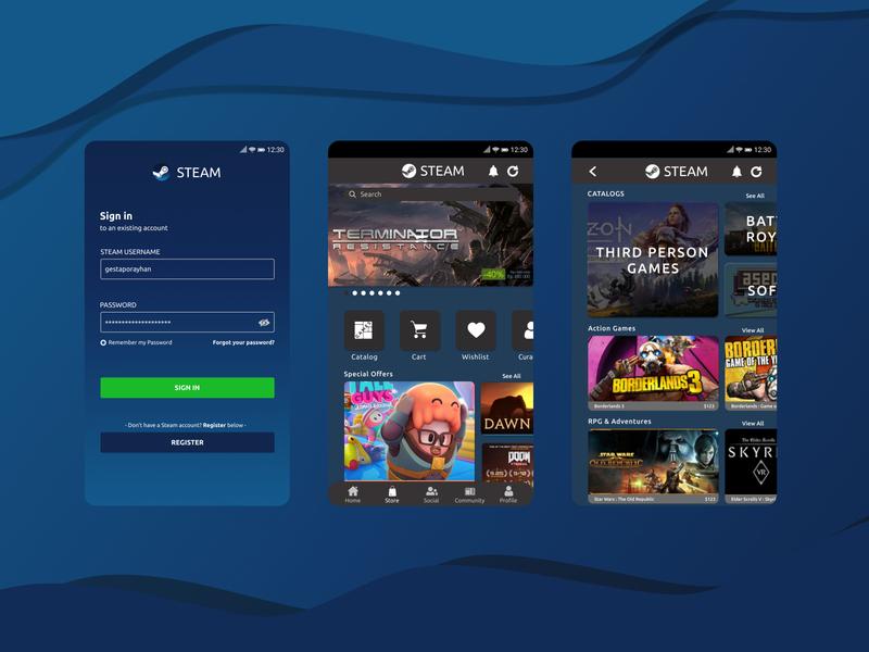 Steam Mobile Application Re-Design Concept influenced ui branding design challenge uiux design smartphone mockup design app design