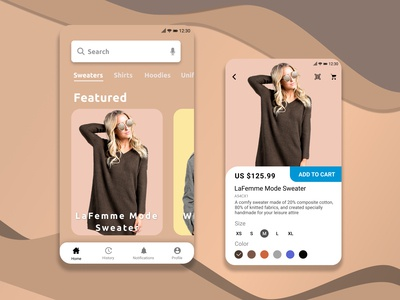 e-Fashion Shopping Application mobile ui smartphone mockup design app design