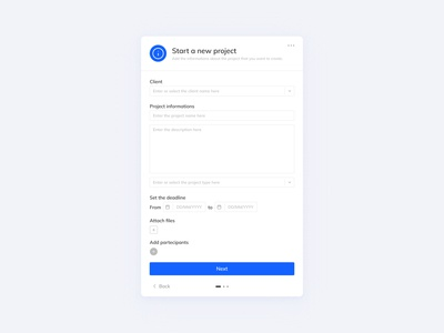 UI // New project form form design form field user experience user interface interface project management form figma ux ui design concept minimal prototype ui flat