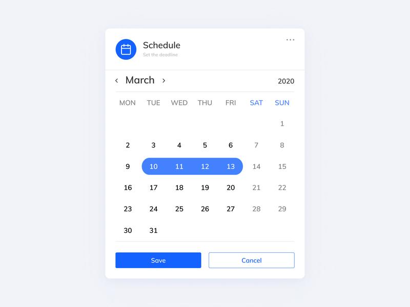 UI // Date scheduling tab