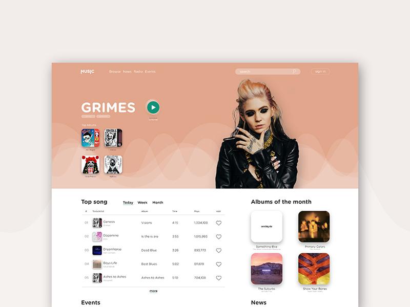 Music Platform - UI Concept home website grimes music ui design concept ui