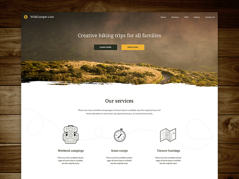 Hiking trips landing page photo mountains web design land modern light hiking landing page landing