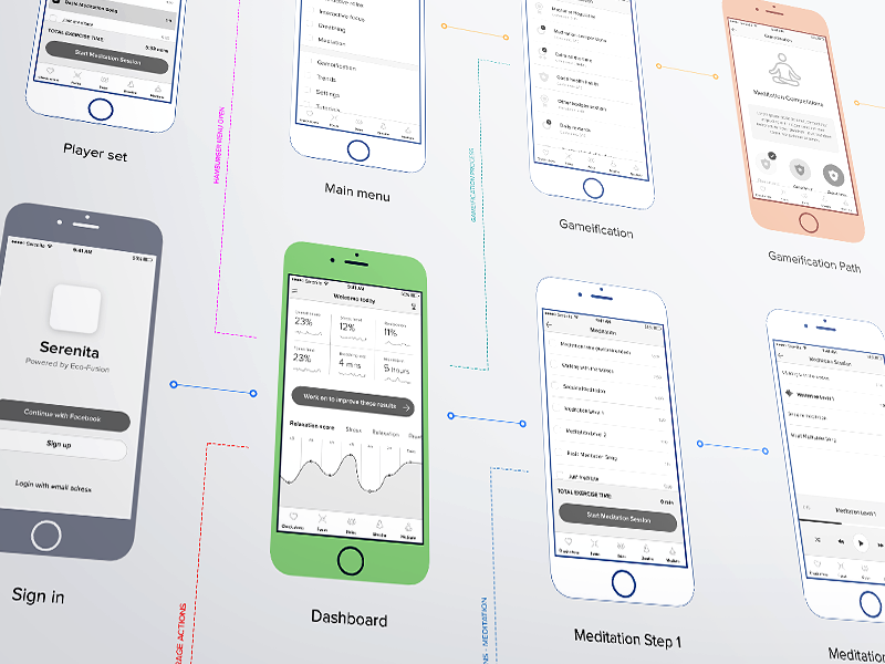 Serenita iOS app flow step dashboard perspective mockup wireframe prototype design iphone ios flow wireframes