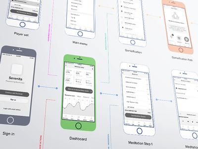 Serenita iOS app flow step dashboard perspective mockup wireframe prototype design iphone ios flow wireframes