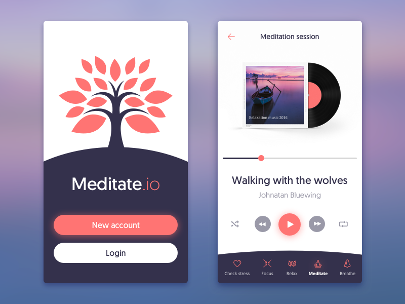Meditation App apple iphone design health peace calm meditation application app mobile ios