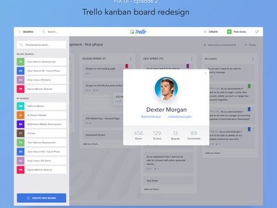FIX UI Project #2 - Trello kanban board card cart ticket user sidebar light dashboard scrum fixui kanban trello