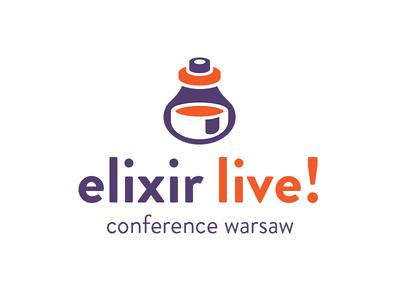 Elivir live! - conference logo illustration brandon typography logotype simple elixir branding logo