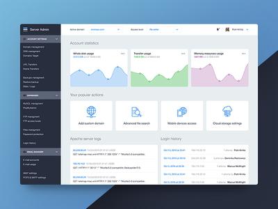 Server admin dashboard design light blue flat linear icons chart sidebar admin server dashboard