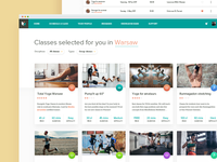 Fitness classes - search results view