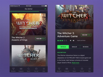 Mobile game store (iOS) - Search results + game profile
