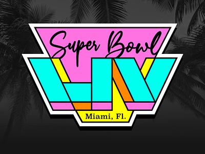 Super Bowl LIV Miami (Concept) color palette touchdown 80s style 80s sports south beach dolphins vice city identity branding concept logo concept sbliv super bowl liv super bowl neon florida miami football nfl