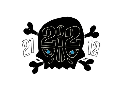End Of The World black and white poster art skull