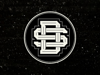 Monogram DS logo black and white monogram design