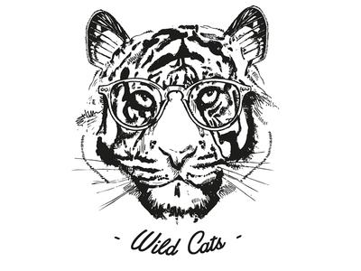 Wild Cats logo black and white design tiger