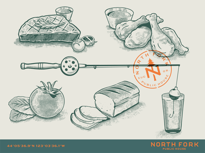 North Fork Public House Illustrations restaurant branding beer branding linocut illustration menu brewery restaurant beer