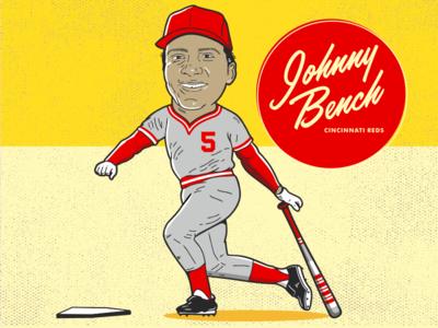 Johnny Bench cincinnati sports retro character baseball mlb