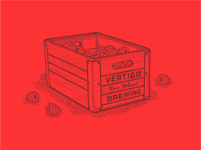 Vertigo Brewing -  Raspberry Wheat brewing label illustration beer