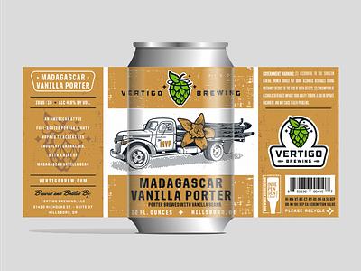 Vertigo Brewing - Madagascar Vanilla Porter can packaging brewing label illustration beer
