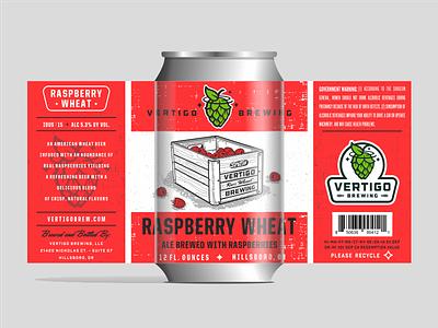 Vertigo Brewing -  Raspberry Wheat can packaging brewing label illustration beer