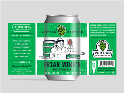 Vertigo Brewing - Friar Mikes India Pale Ale can packaging brewing label illustration beer
