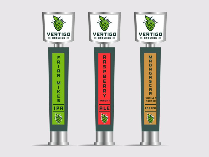Vertigo Brewing Tap Handles star tap handle hops brewery branding design logo brewing beer