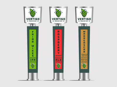 Vertigo Brewing Tap Handles star tap handle hops brewery branding design logo brewing beer