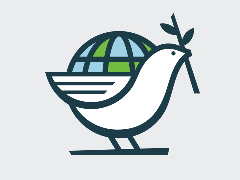 Dove illustration mark branding bird icon bird logo globe peace bird dove
