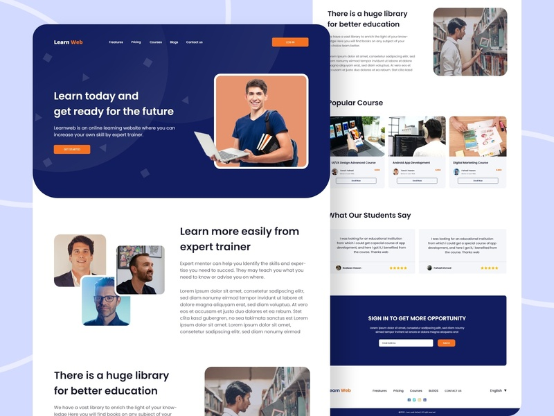 Online Learning Website UI Design app user interface landing page website mobile app ui uxdesign uidesign uxui ui development course development course course school management online learning