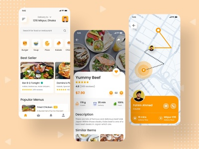 Online Food Delivery App Ui Design ux design ui logo design graphic food delivery application app 2020 food and drink user interface design uiux e-commerce app shop app food illustration delivery ui design food app foodie food delivery man delivery app food delivery