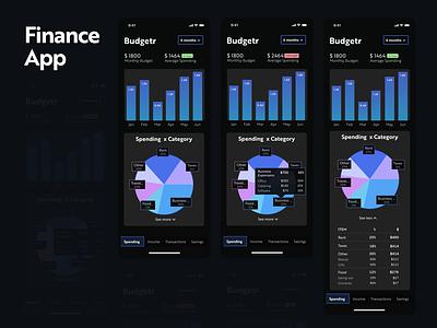 Finance App dark theme budget finance app clean web design mobile