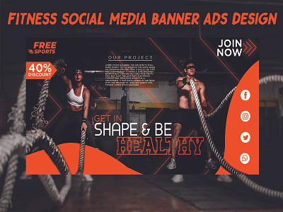 Fitness Banner Design for Social Media fitness banner gym banner design fitness deisgn brand minimalist logo banner banner design logo design graphic design creative design banner ad