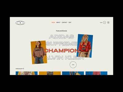 Twice Nice Thrift Store art direction retro 90s style tiles website ui typography minimal makereign fashion concept