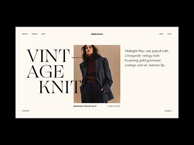 Obsidian Fashion Online Store minimal makereign typography syletiles website ui concept fashion