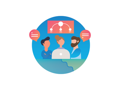 Team collaboration gradient characters website icon illustration team