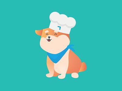 Nobby the Neueda dog gradient illustration mascot icon chef corgi dog