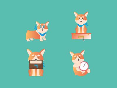 Paddy The Corgi dog illustration icon tools time travel corgi