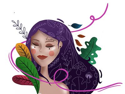Sketch to iPad pro create florals flowers girl illustration ipad procreate