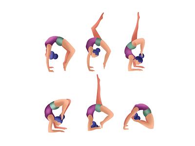 Yoga logo vector branding icons characters design yoga poses hair icon people character girl illustration yoga